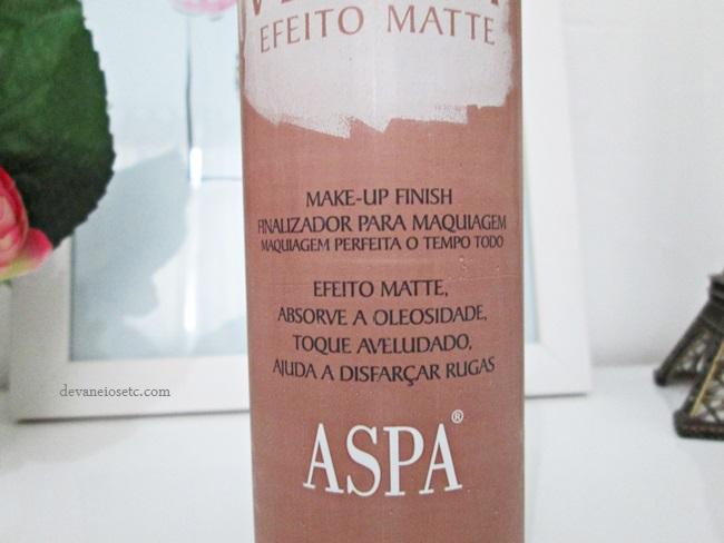 Finalizador de maquiagem Velvet Efeito Matte da ASPA embalagem funções