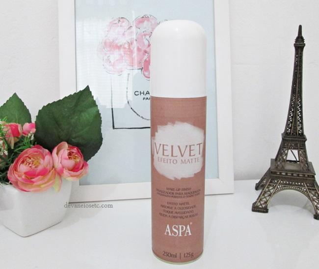 Finalizador de maquiagem Velvet Efeito Matte da ASPA embalagem